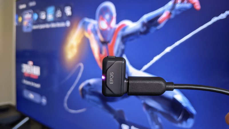 EPOS GTW 270 Hybrid Earbud USB-C dongle connected to a PS5