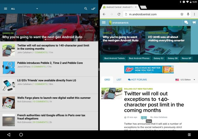 Android Central in multi-window