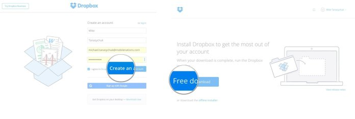 Click Create an account, click Free Download