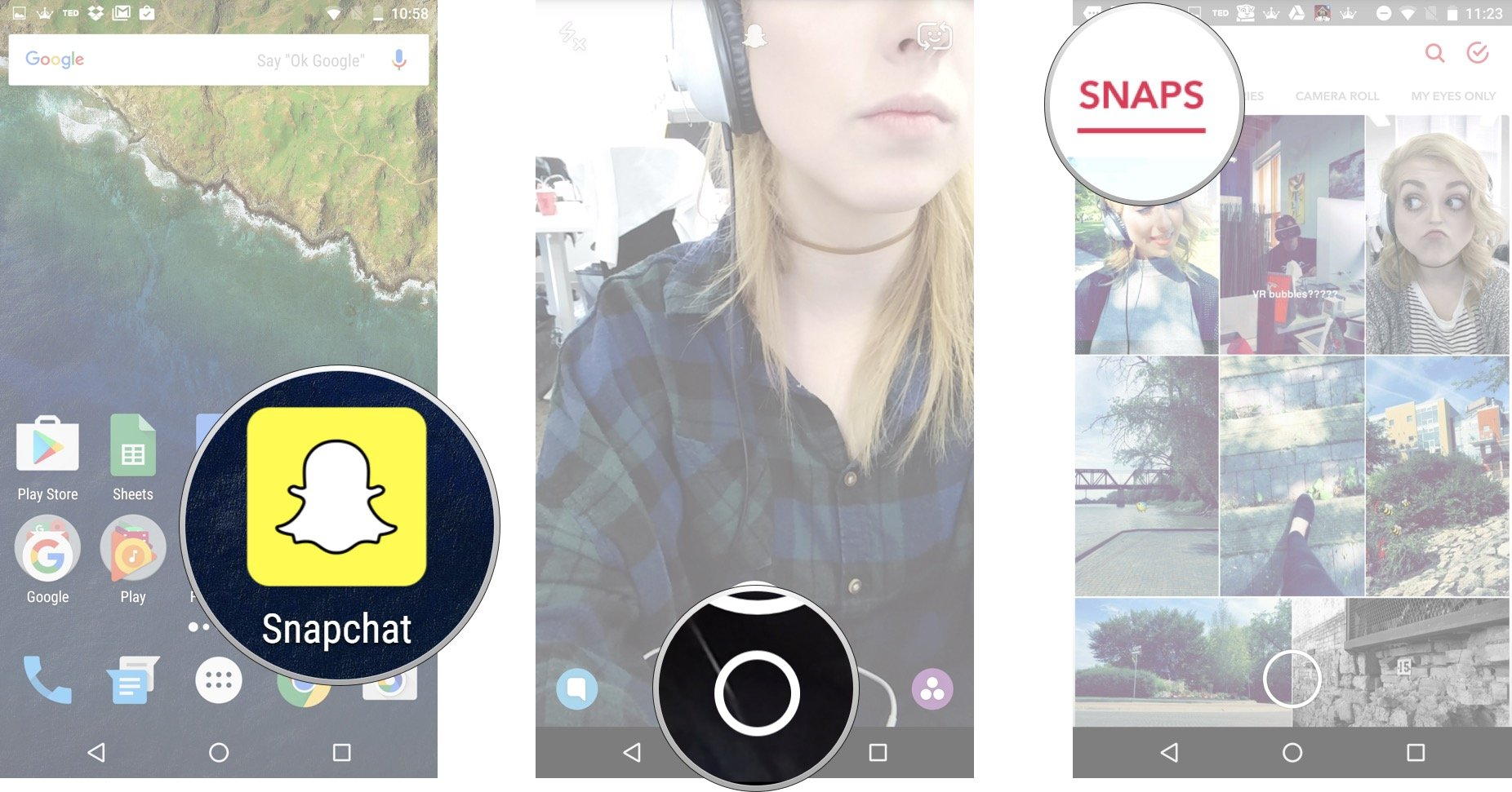 Launch Snapchat from your home screen and tap on the smaller white circle underneath the shutter button to access Memories. Tap the Snaps tab.
