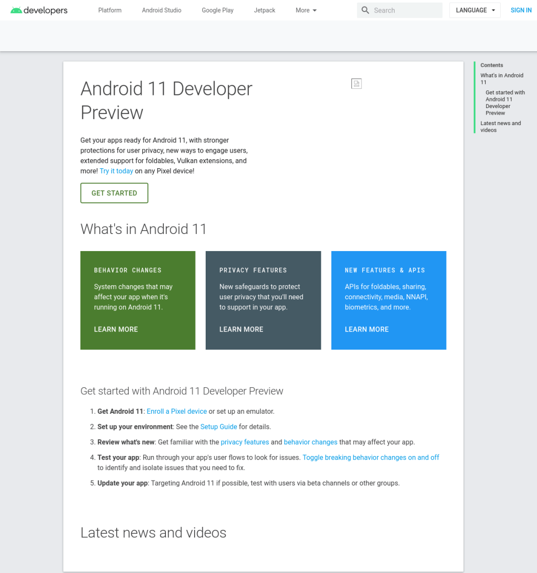 Android 11 Developer Preview page