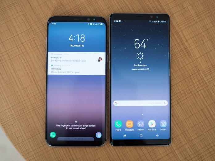 Samsung Galaxy Note 8 and Galaxy S8+