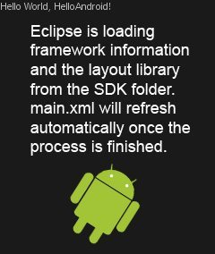 Android Fix: Eclipse is loading framework information and the layout library from the SDK folder. main.xml will refresh automatically once the process is finished.