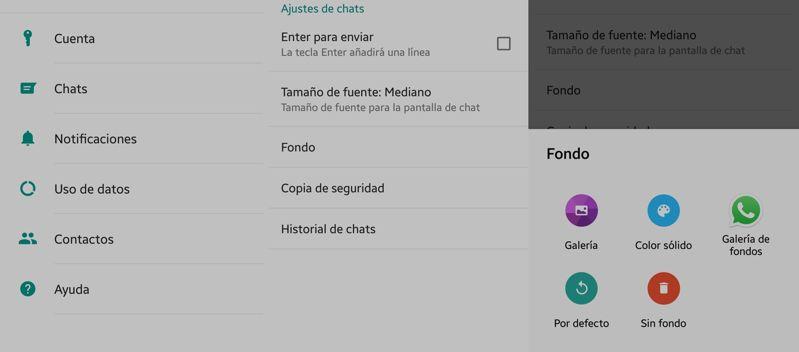 configuracion para cambiar de fondo de chat en WhastApp