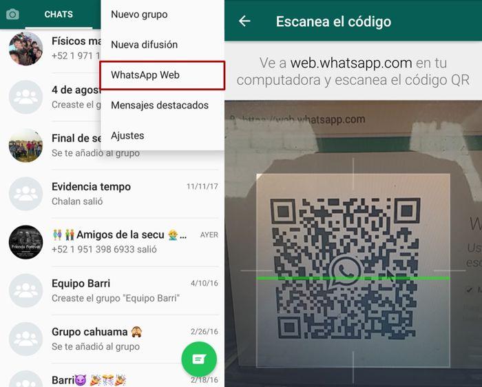 escaneo de código para whatsapp web