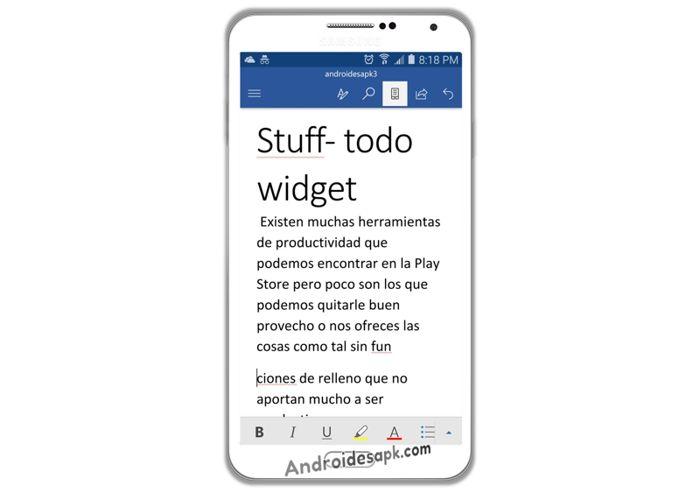 Word versión móvil