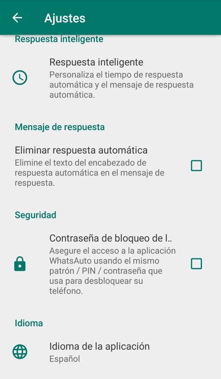 Opciones de configuración de respuesta automática.