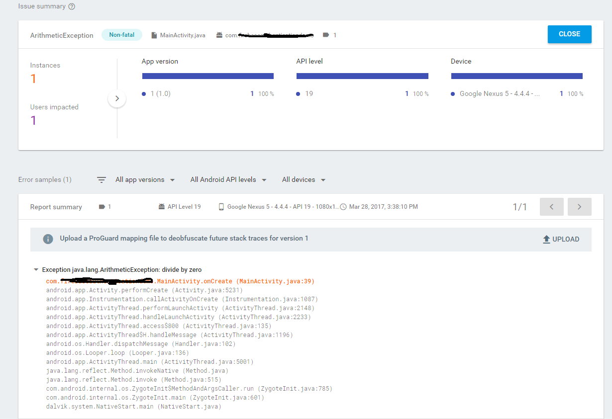 Firebase Crash Reporting