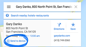 Google Maps' Send to device function