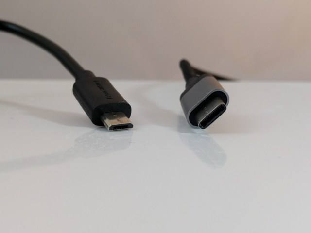 Micro USB on the left and the new USB type C standard on the right