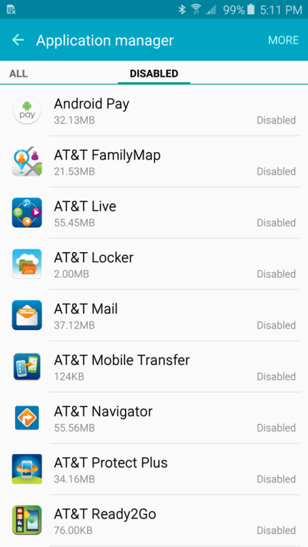 AT&T bloatware on the Note5