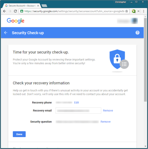 Google Security Check-up