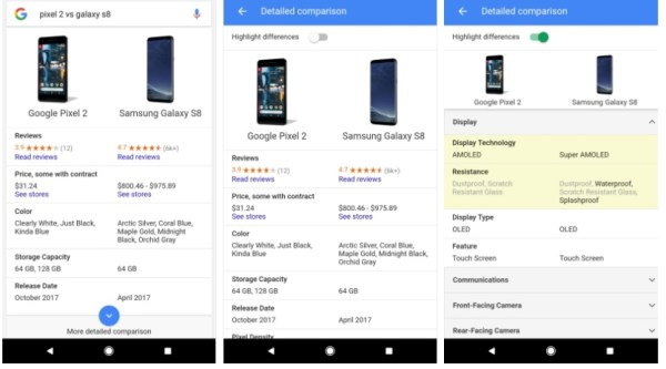Google Search is getting a new phone comparison tool