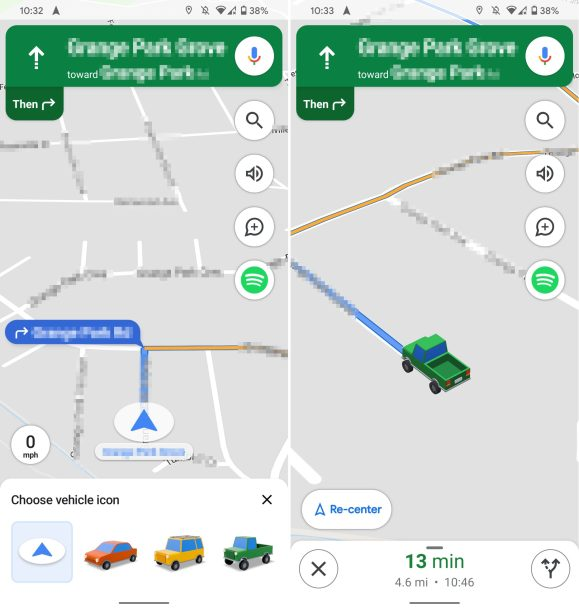 google maps vehicle icons android
