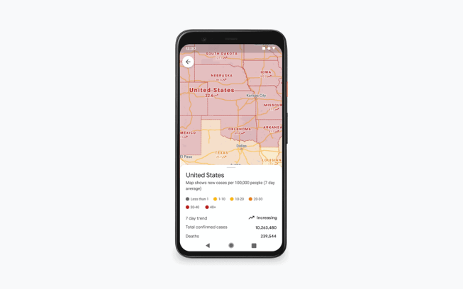 Google Maps improved Covid layer