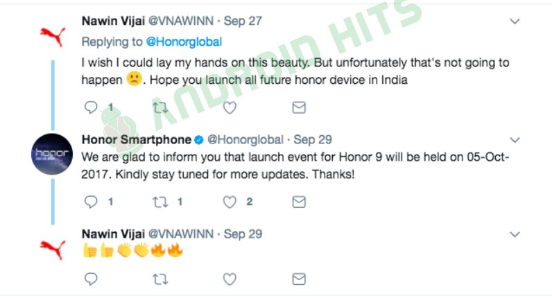 Huawei to launch Honor 9 in India on 5th October""