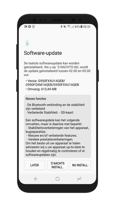 Samsung Galaxy S8 beveiligingsupdate mei