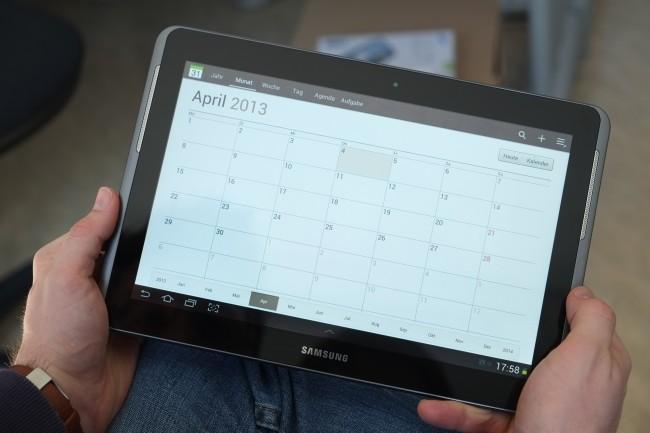 Die für Tablets optimierten (Samsung-)Apps lassen sich ob der Gerätegröße von 10.1 Zoll leicht bedienen.