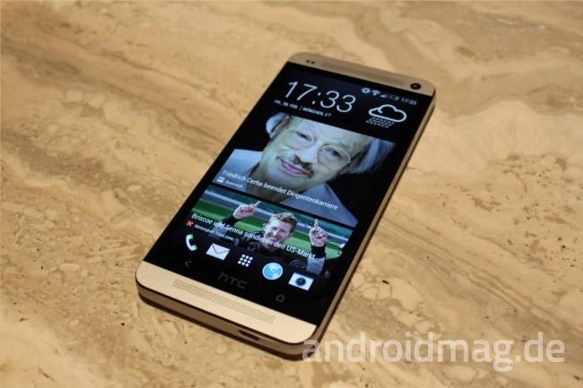 Das Gehäuse des HTC One besteht aus leichtem Aluminium mit einem 1080p Full HD-Bildschirm und frontseitig angebrachten Stereo-Lautsprechern. Foto: androidmag.de