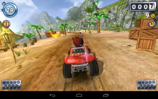 In diesem Spiel steuerst du einen Strandbuggy über die wüstenartige Landschaft.