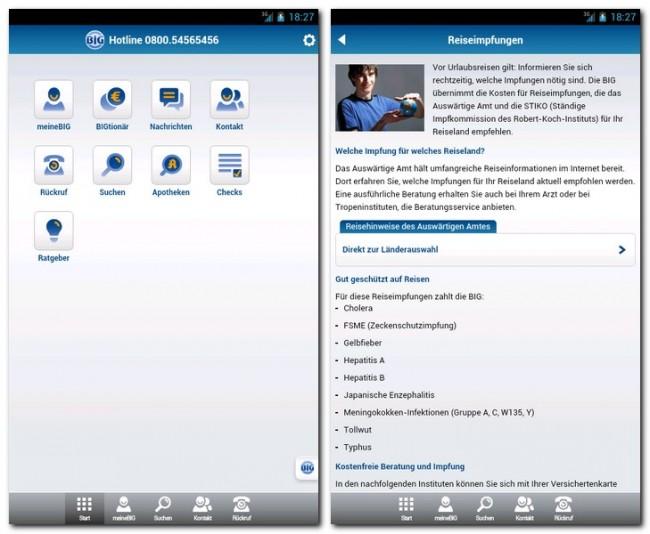 """Die App """"BIG direkt"""" erlaubt es den Mitgliedern der Krankenkasse """"BIG direkt gesund"""", Bescheinigungen anzufordern sowie Anträge und Bonuspunkte zu verwalten."""