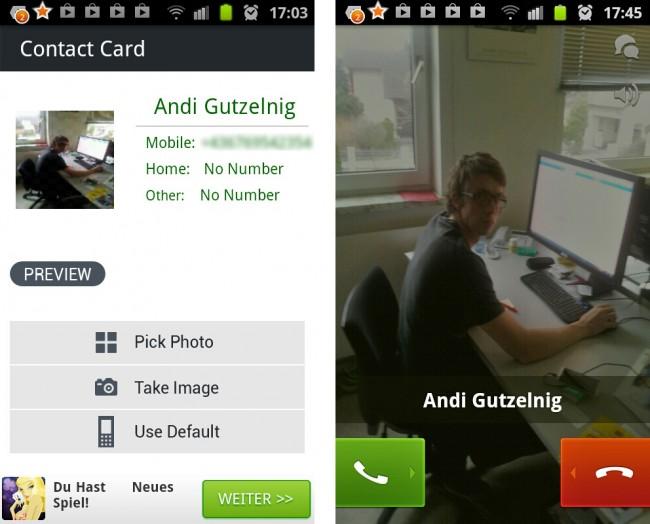 Die App ermöglicht das anzeigen von Kontaktbilder beim Anruf auf dem ganzen Bildschirm anzuzeigen.
