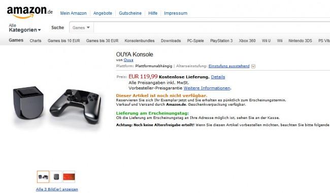 Die Android Spielkonsole Ouya kann ab sofort bei Amazon vorbestellt werden.