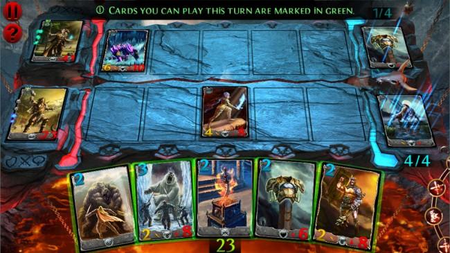 Das Interface ist schön aufgeräumt: Unten Ihre Karten, links Ihr Held und die bereits gespielten Knechte auf dem Spielfeld in der Mitte.