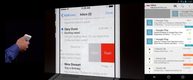 """Apple Mail erhält nun auch die """"Swipe to Delete"""" Funktion zum löschen von E-Mailnachrichten. Diese Funktion ist in Google Mail bereits seit längerem integriert. Foto: Droidlife.com."""