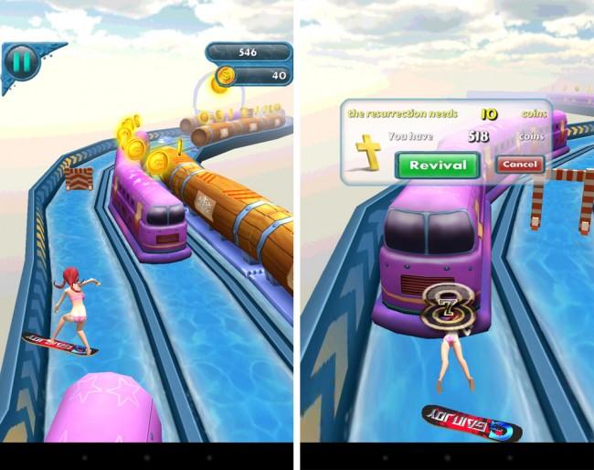 Die knappbekleidete Spielfigur in Crazy Surfing 3D rast mit einem Surfbrett über knifflige Strecken.