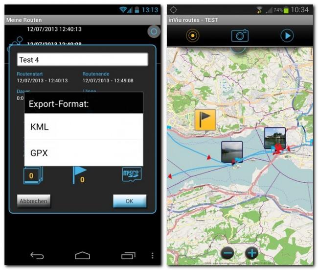 InViu routes kann die aufgezeichneten Strecken als GPX-Dateien speichern und die Positionen von Fotos und POIs auf Karten anzeigen.