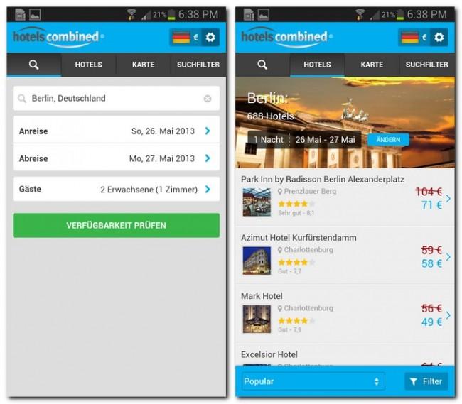 Du kannst die Angebote nach deinen Vorstellungen filtern, jedes Hotel ist mit einer Bewertung und einem Preis versehen.
