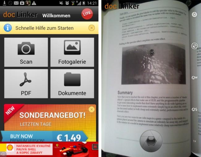 Mit Doc Linker lassen sich PDF Dokumente von der Kamera sowie von existierenden Bildern auf dem Smartphone erstellen.