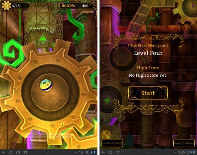 für Gears: Deine Aufgabe: Steuere in einer von drei durch Steampunk inspirierten Welten eine Metallkugel über ein Labyrinth aus Fließbändern, Plattformen und sich drehenden Zahnrädern.