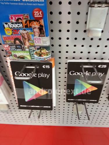 Die Google Play Geschenkkarten sind ab sofort auch im Deutschen Einzelhandel erhältlich. Foto: Androidnext.