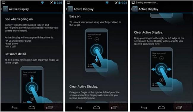 Die Active Display Funktion des Motorola X soll das Betrachten von Benachrichtigungen erlauben ohne den Bildschirm des Gerätes zu aktivieren. Foto: Androidheadlines.com.