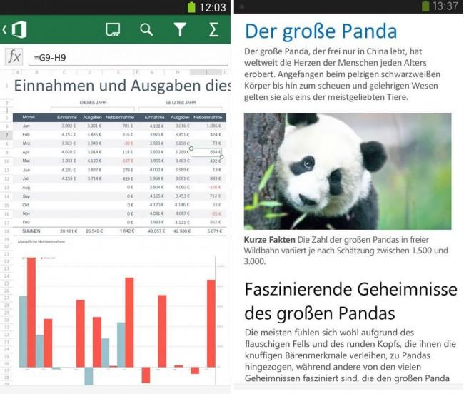 Officedokumente wie Exel-Tabellen und Word-Dokumente lassen isch mit Office Mobile for Office 365 auch unterwegs betrachten und bearbeiten.