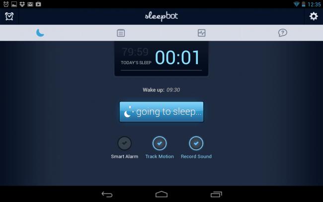 Sleepbot erkennt Bewegungen und nimmt über das Mikrofon des Smartphones die Schlafgeräusche auf, anhand dieser Daten wird dann ein geeigneter Weckzeitpunkt ermittelt.