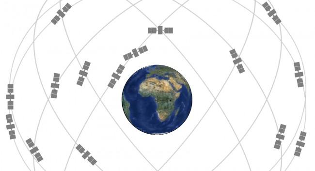Die 24 GPS-Satelliten umkreisen die Erde in Vierergruppen auf sechs Bahnebenen.