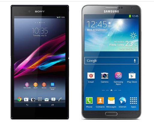 Das Xperia Z Ultra im Vergleich mit dem Galaxy Note 3. Foto: Techhive.