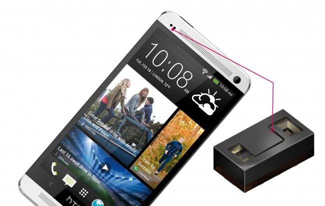 Hier befindet sich der Annäherungssensor beim High-End-Smartphone HTC One.