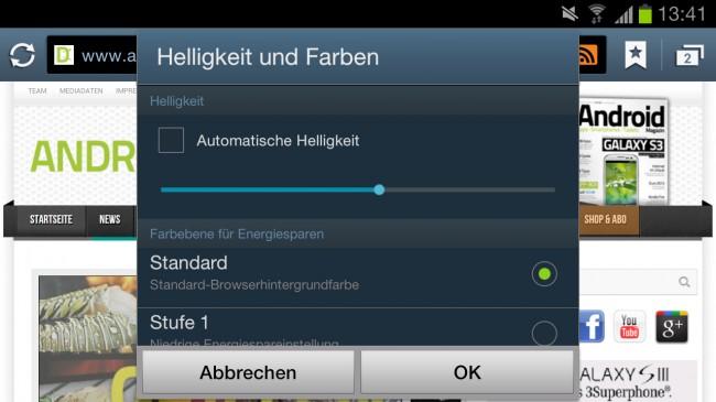 Automatische oder manuelle Helligkeitsregulierung im Browser. Nützlich bei niedrigem Akkustand.