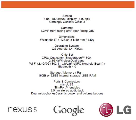 Die Offiziellen Spezifikationen des Nexus 5. Grafik: The Verge.q
