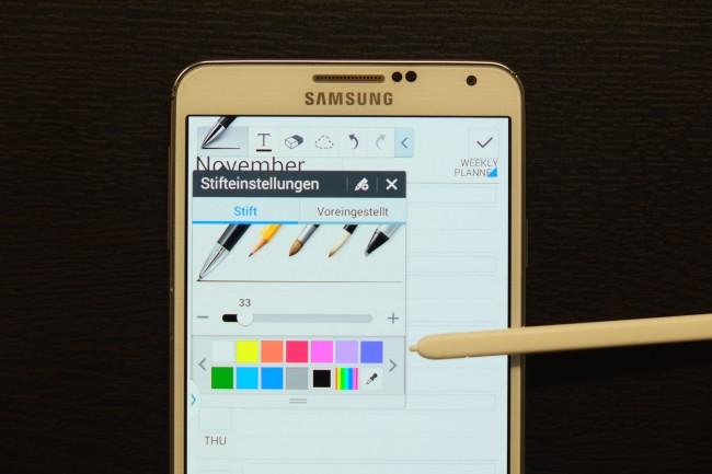 Auch die bereits bekannten Stift-Anwendungen wie der Kalender oder die Notizfunktion wurden in Details weiter verbessert.