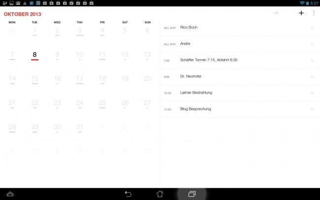 Durch die Synchronisation mit dem Google Kalender, werden immer alle Termine in der App zusammengefasst.