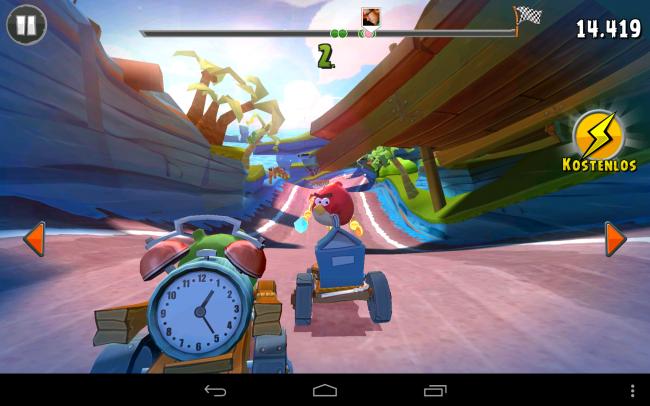 Mit Angry Birds Go! wagt Rovio erstmals den Sprung zur 3D-Grafik. Optisch ist das Mario Kart-ähnliche Rennspiel jedenfalls überaus gelungen.