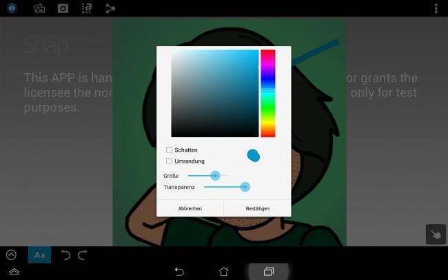 Die Farbe der eingefügten Objekte und deren Größe und Transparenz kannst du frei bestimmen.