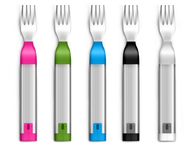 Smarte Gabel: Die Hapifork gibt es in verschiedenen Farben.