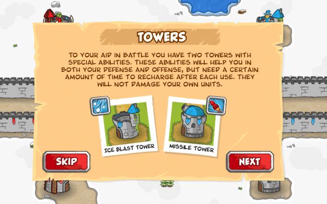 Deine Einheiten kannst du mit zwei unterschiedlichen Türmen unterstützen.