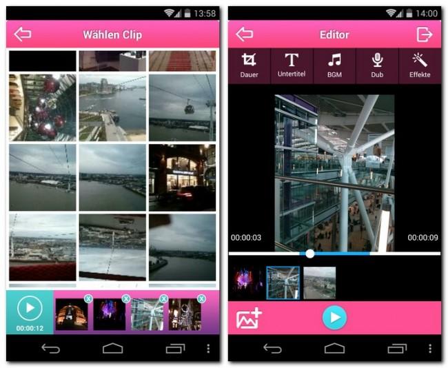 Mit der App VideoShow kannst du Fotos, Musikstücke und Videos miteinander kombinieren, um ein neues Video anzufertigen.